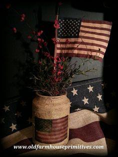Primitive Americana Flag In Jar