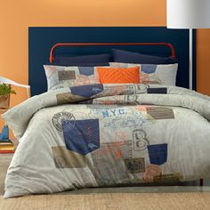 An eclectic mix of postage stamps, print and denim pockets make this a stylish and contemporary design for both teens and adults. Make a distinctive bedroom statement with the addition of a Charlotte throw and some Tango cushion covers. The quilt cover has button closure.