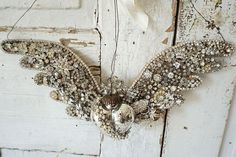 Metal angel wings with heart wall hanging art shabby cottage chic winged heart embellished old rhinestone jewelry ooak anita spero design