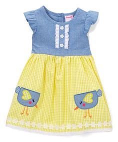 b55e02c234a Take a look at this Nannette Girl Blue Chick Angel-Sleeve Dress - Infant