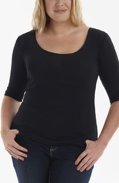 Basic wide neck tee/Black Style No: Fine guage Elastane makes this little basic length sleeve tee a must have in your wardrobe. You can use it to layer with anything. Must Haves, Diva, Layers, Essentials, Plus Size, V Neck, Tees, People, Black Style