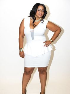 New Plus Size White Peplum Dress with Sheer Front Panel 1x 2x 3x available at www.chicandcurvy.com