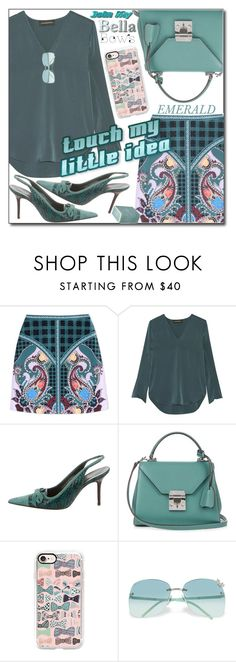 """""""EMERALD//BOW"""" by shoaleh-nia ❤ liked on Polyvore featuring Mary Katrantzou, By Malene Birger, Dolce&Gabbana, Mark Cross, Casetify, Gucci and Pigeon & Poodle"""