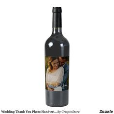 Wedding Thank You Photo Handwritten Script wine label