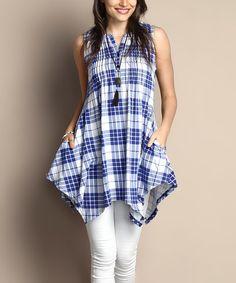 Another great find on #zulily! Blue Plaid Notch Neck Sleeveless Handkerchief Tunic - Plus #zulilyfinds