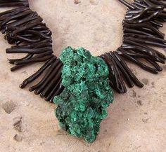 SILKY GENUINE GREEN MALACHITE PENDANT BRANCH BLACK CORAL NECKLACE HUGE JEWELRY #Pendant