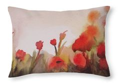 Poppy Field Throw Pillow featuring the painting Poppies by Vesna Antic