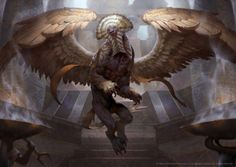 MtG Art: Consecrated Sphinx (Invocations) from Amonkhet Set by Lius Lasahido - Art of Magic: the Gathering Mythological Creatures, Fantasy Creatures, Mythical Creatures, Fantasy Monster, Monster Art, Magic The Gathering, Dark Souls, Le Sphinx, Mtg Art