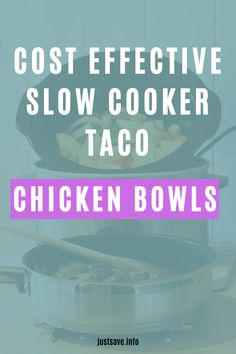 COST EFFECTIVE SLOW COOKER TACO CHICKEN BOWLS #crockpottacochickenbowls #tacochickenbowlrecipe #tacochickenbowlsmealprep #slowcookertacochickenbowls Taco Chicken, Dry Rice, Food Inc, Cup Of Rice, Taco Bowls, Slow Cooker Tacos, Frozen Corn, Canned Black Beans, Cayenne Peppers