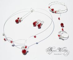 Parures de bijoux mariage perles rouges, colliers mariage perles de verre rouge