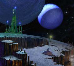 Emerald City by Angus McKie Fiction Movies, Science Fiction Art, Pulp Fiction, Fantasy City, Sci Fi Fantasy, Fantasy World, Fantasy Landscape, Landscape Art, Sci Fi City