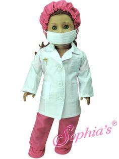 Fuchsia Doctor Scrubs, Lab Coat, Mask, Hat & Booties