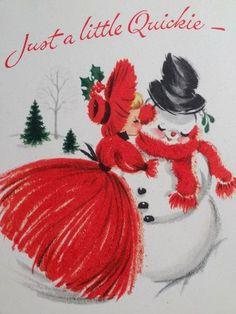 1950s Snowman Vintage Christmas Card