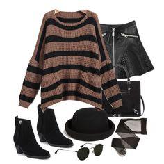 Khaki Long Sleeve Pocket Steiped Loose Sweater