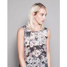 Pull & Bear Floral-Print Striped T-Shirt