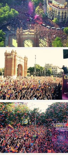 Multitudes applaud the Champions - Parade 7 June 2015 in Barcelona