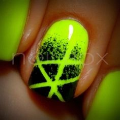 neon and black nails