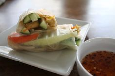 Recipe Box: Julia's Healthy Veggie Rolls- Love fresh thai spring rolls so I'll make these and instead of the sauce in this roll I will use fish sauce, make peanut butter sauce, or make Nuac cham sauce for dipping.  mmmm