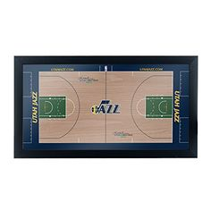 Steiner Lovely Utah Jazz Glass Basketball Display Case Logo On Court Background Sports Mem, Cards & Fan Shop