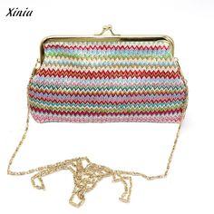 Ladies Knitting Rainbow Pattern Wallet Shoulder Bag