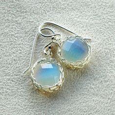 Dangle earrings Opalite wire crochet silver jewelry Opal stone jewellery Crocheted silver cabochon