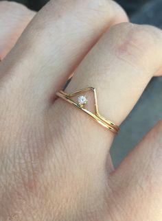 14k Diamant-Ring Set zierliche Engagment Ring von LieselLove