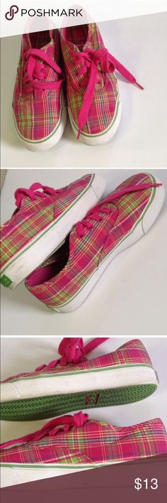 Polo sneakers Girls pink and green plaid polo sneakers. In good used condition Polo by Ralph Lauren Shoes Sneakers