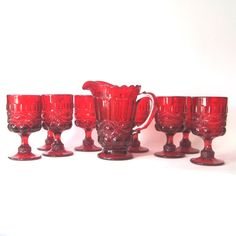Vintage Ruby Red Eyewinker Pitcher and 8 goblets by by Hallingtons