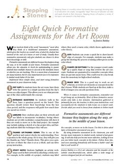Formative assessment in the art classroom Curriculum Planning, Art Curriculum, Lesson Planning, Middle School Art, Art School, High School, Art Rubric, Rubrics, Art Classroom Management