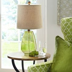 Living Room Table Lamp - Seeded Glass - Pier 1 Imports Seeded Glass Lamp - Green, End Table