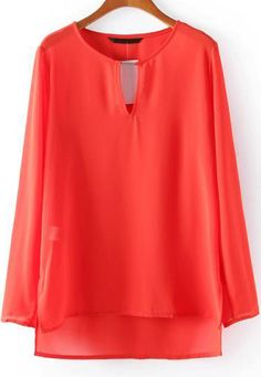 Red Long Sleeve Hollow Chiffon Blouse 15.00
