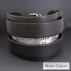 Men's Wide Leather Personalized Cuff Bracelet / hand stamped custom / gifts for him / father's day gift / Boyfriend gifts / Groomsmen