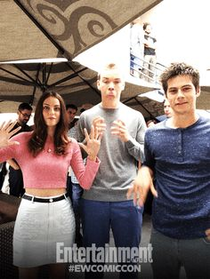 Kaya Scodelario, Will Poulter, and Dylan O'Brien. It's a miracle they got any filming done. They're always dancing.