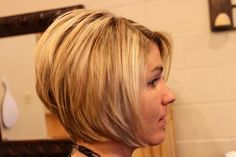cute stacked bob  link to a hair stylist blog w/ more pics  commentary. I also really like the second girl, Joys, cut  color.