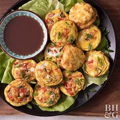 Rethink breakfast with this savory muffin tin recipe. Eggs and ham fuel you with protein to keep you satisfied until lunch, while fresh veggies add nutrients and bright flavor. A dunk in an Asian plum sauce gives even more flavor to the healthy breakfast recipe.