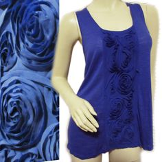 NEW CABLE GAUGE Women ROYAL BLUE 100% COTTON 3D FLORAL Sleeveless TANK TOP SHIRT $59.98  #CableGauge #TankCami #Casual