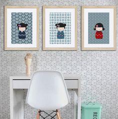 3 affiches kokeshis avec motifs japonais, décoration