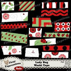 Each digital paper packs (12 sheets) are $1.  See more at www.FoxyExpressions.com Lady Bug washi tape comes in #Red, #Black, White, and Green. Designs include Lady Bugs, #Flowers, Leaves, Swirls, Chevron, Polka Dots & more  This pack is great for scrapbooki... #sale #foxydesign #foxyexpress #ladybugs #flowers #spring #summer #leaves #green #red #black #outside #garden