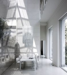 Giogali Cascata made of white murano glass links at Loft by Lissoni Associati // Monza, Italy Borrowed Light, Converted Warehouse, Loft, Modern Architects, Natural Interior, Contemporary Interior Design, Decoration, Interior Architecture, Minimalism