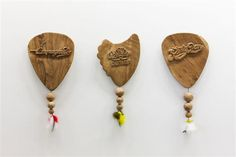 Daniel Dewar & Gregory Gicquel Plectrums, 2005 Chestnut wood and plucks 100 x 55 x each. Part of Conjuring for Beginners at Project Arts Centre, Dublin. Photo by Denis Mortell The Conjuring, Dublin, Tassel Necklace, Centre, Wood, Projects, Art, Log Projects, Art Background