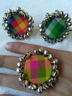 Diy Tassel Earrings, Indian Jewelry Earrings, Fabric Earrings, Cuff Jewelry, Earrings Handmade, Jewelry Crafts, Jewelry Art, Diy Fabric Jewellery, Fabric Brooch