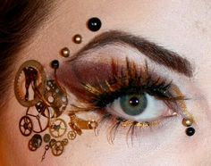 Steampunk Makeup - I wonder if I could do something similar in a temporary tattoo to make it less time consuming.