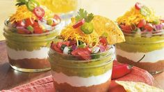 Taco Dip in a Jar. This delicious dip features beef, guacamole, Old El Paso® taco seasoning mix and beans. Serve this yummy appetizer with tortilla chips.