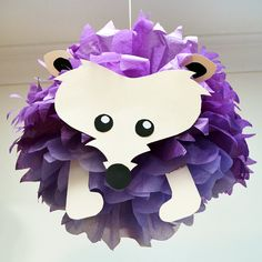 Hedgehog Tissue Paper Pom Pom Animal by PomLeMoose on Etsy
