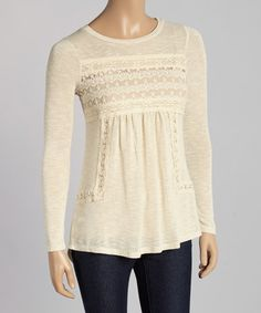 Look at this #zulilyfind! Oatmeal Lace Scoop Neck Top #zulilyfinds