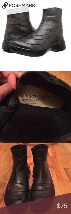 Naot Tellin Boots Size 38 European, close to 8 US. Worn lightly one season. Minor scuffing on toe box, easily fixed with leather care. Supported removable leather footbed with memory foam, it's like walking on air. Color is black pearl leather and have stripes of a silver like sheen. Very comfortable, supportive, and good for walking. Naot Shoes Ankle Boots & Booties