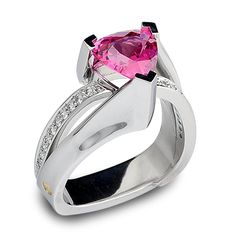 Revolution Collection - 2.25ct Trillion Cut Pink Spinel accented by Round Brilliant Cut Diamonds set in Platinum.