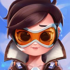 Cartoon, Portrait, Digital Art, Digital Drawing, Digital Painting, Character Design, Drawing, Big Eyes, Cute, Illustration, Art, Girl, Tracer, Overwatch, Fanart, Blizzard