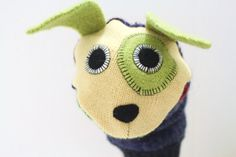 Sweet repurposed sweaters made into Hand puppet Puppy  named Millet  is a sweet by thecreativefrog