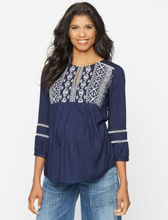 A Pea in the Pod 3/4 Sleeve Keyhole Detail Maternity Tunic